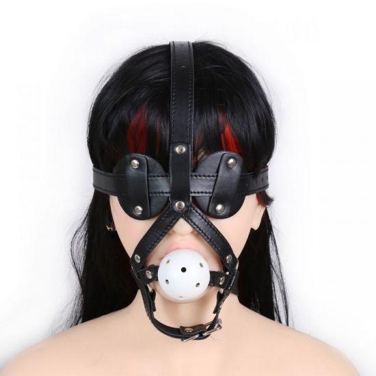 Kožená ohlávka s roubíkem BDSM Maska