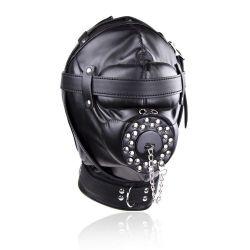 Deprivační maska černá s otvorem na penis BDSM  FUN COSPLAY