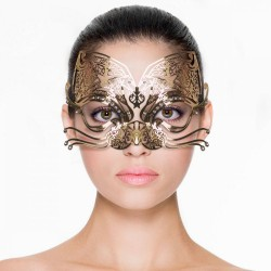 Maska na oči EasyToys Metal Mask Cat gold