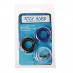 Stay Hard Beaded Cockrings-Sada tří kroužků na penis