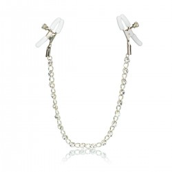 Skřipce na bradavky CalExotic Crystal Chain Nipple Clamps silver