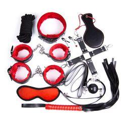Desetidílná sada bondage sex toy kit BDSM černo - červená