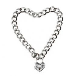 BDSM řetěz na krk se zámkem ve tvaru srdce